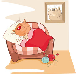 Vector Illustration of a Cute Cat. Cat Sleeping in the Room. Comics Book