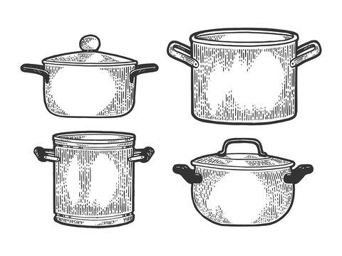 Pan casserole pot set kitchen utensils sketch engraving vector illustration. Scratch board style imitation. Black and white hand drawn image.