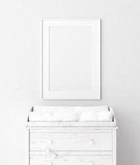 Mock up poster frame in baby room, 3D render