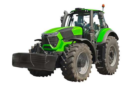 Big green agricultural tractor isolated on a white background