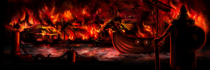 Viking invasion banner/Illustration background with a viking, a drakkar and a burning medieval town. Digital painting