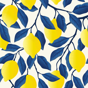 Tropical seamless pattern with bright yellow lemons.