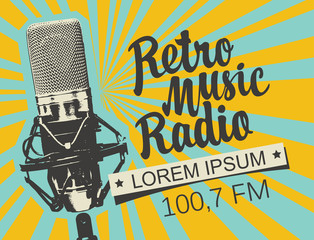 Vector banner for radio station with studio microphone and inscription Retro music radio on the abstract background with rays. Radio broadcasting concept. Suitable for flyer, ad, poster, placard