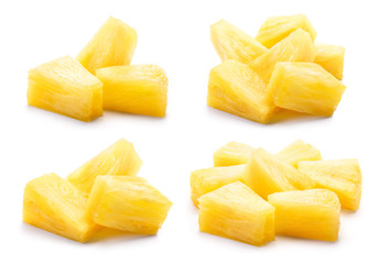 Canned pineapple chunks. Pineapple slices isolated. Set of pineapple chunks. Collection.