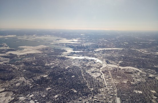 Aerial view of Boston and the frozen Massachusetts Bay