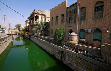Shatt al-Arab river that has turned green due to large algae bloom is pictured in Basra