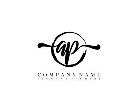 AP Initial handwriting logo with circle hand drawn template vector