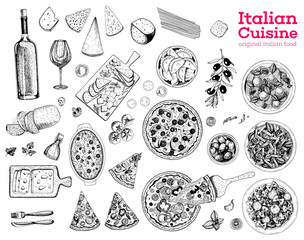 Italian food sketch. Set of Italian dishes with pasta, pizza, ravioli and ingredients. Food menu design template. Italian cuisine. Vintage hand drawn sketch vector illustration. Engraved image