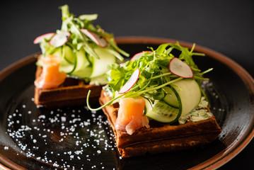 belgian waffle with salmon and radish