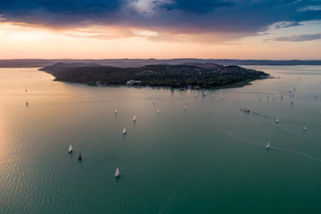 Aerial photo with sailing boats
