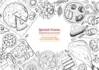 Spanish cuisine top view frame. A set of spanish dishes with tortilla, hamon, tapas, fabada, patatas bravas . Food menu design template. Vintage hand drawn sketch vector illustration. Engraved image