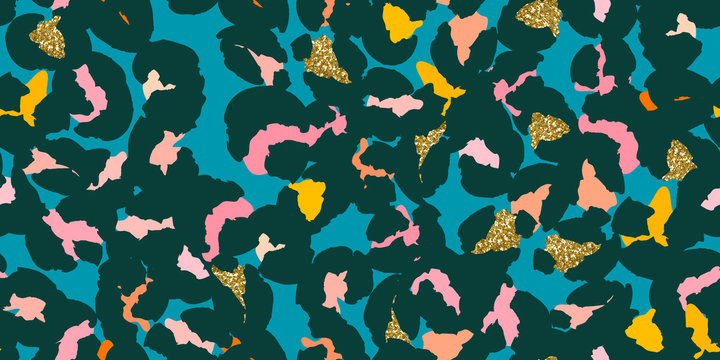 Leopard spots or hand-drawn abstract flowers seamless pattern design. Vector illustration background