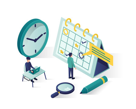 vector isometric illustration. isometric people characters make an schedule in the calendar. design business graphics tasks scheduling on a week vector isometric illustration