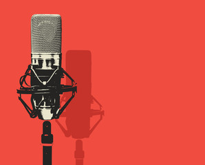 Vector banner with studio microphone on the red background in realistic style. Professional sound recording equipment. Suitable for banner, flyer, ad, poster, invitation to karaoke party