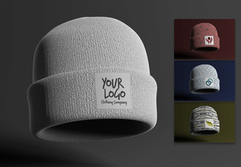Beanie with Label Mockup
