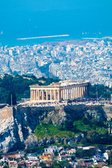Printed kitchen splashbacks Athens Athens in spring, view from hill, cityscape with Acropolis, streets and buildings, ancient urbal culture
