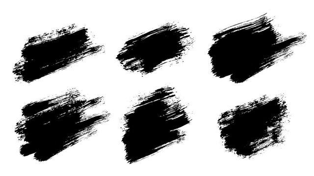 Brush strokes. Vector paintbrush set. Grunge design elements.