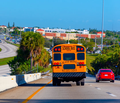 School Bus on the highway in Southern Florida