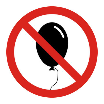No balloons. Entry with balloons are not allowed. Vector sign. Red circle with a red diagonal line through the silhouette of a balloon.