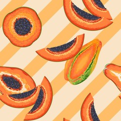In de dag Draw Papaya Party Vector Seamless Pattern Textile Design