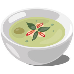 Thai Green Curry. Vector illustration.