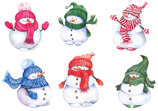 Cute snowmen wearing knitted hats, scarves and mittens. Watercolor isolated on white background.