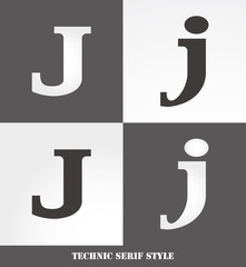 eps Vector image: Linear Serif style initials (J)