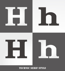eps Vector image: Linear Serif style initials (H)