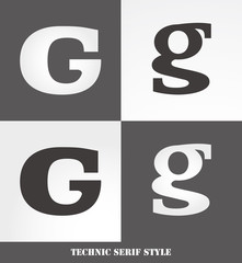 eps Vector image: Linear Serif style initials (G)