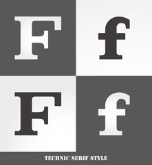 eps Vector image: Linear Serif style initials (F)