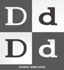eps Vector image: Linear Serif style initials (D)