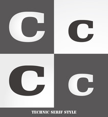 eps Vector image: Linear Serif style initials (C)