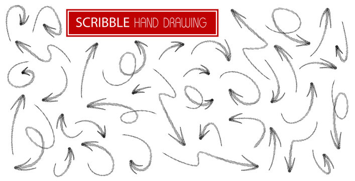 Big set black scribble arrows icons in hand drawn style. Doodle arrow sketch sign and set of hand drawn. Vector illustration on white background