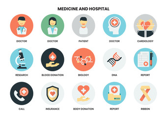 Hospital icons set for business
