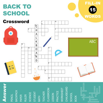 Back to school word search crossword, educational worksheet for kids with answer, vector illustration