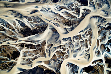 Aerial view of the Icelandic glacial river