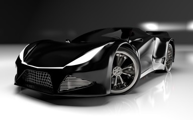 Modern black sports car ,3d ,render.
