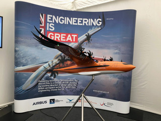 An Airbus concept aircraft with a wing design inspired by nature, dubbed Bird of Prey, is displayed at the Royal International Air Tattoo at Raf Fairford, near Fairford