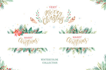 Wall Mural - Watercolor christmas design composition of poinsettia, fir branches, cones, holly and other plants poster. Winter cover, invitation, banner lateral, greeting card.