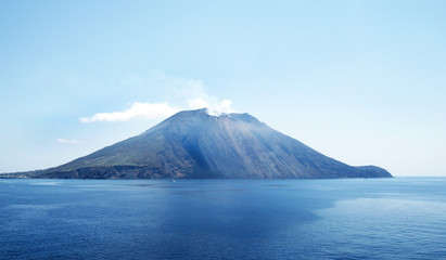 Stromboli Volcano 2 days afterJuly 3, 2019 Eruption.  A small island in the Tyrrhenian Sea, off the north coast of Sicily, Italy.