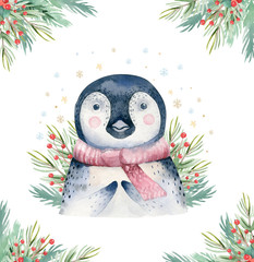 Wall Mural - Watercolor cute baby penguin cartoon animal portrait design. Winter holiday card on white background. New year decoration, merry christmas element