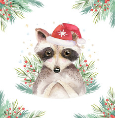 Wall Mural - Watercolor cute baby raccoon cartoon animal portrait design. Winter holiday card on white background. New year decoration, merry christmas element