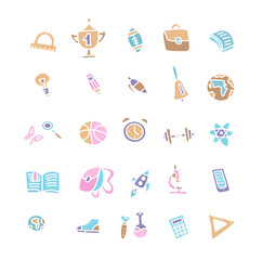 Hand drawn education icons vector on white background. School Icons. Back To School. Hand Drawn color Icon Set. Sketchy School objects and symbols. Freehand drawing school items