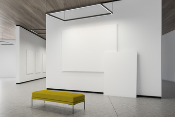 Two posters on white gallery wall