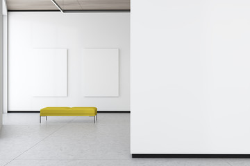 Two mock up posters in white gallery with bench