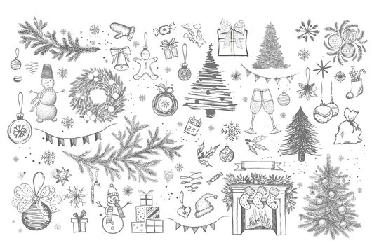 Christmas pattern in sketch style. Hand drawn illustration.