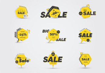 Yellow and Black Sale Icons Set