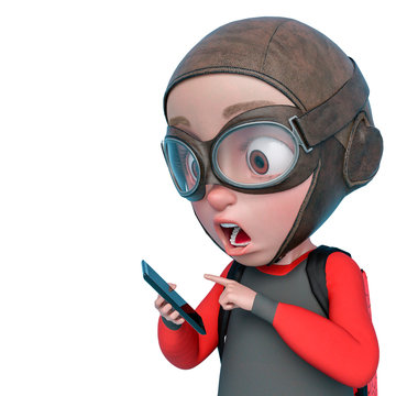 little boy cartoon wiggling a cellphone in a white background