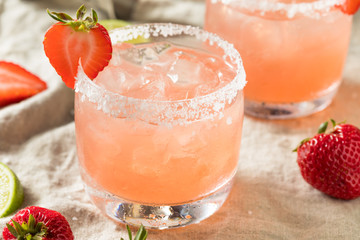 Homemade Red Strawberry Margarita
