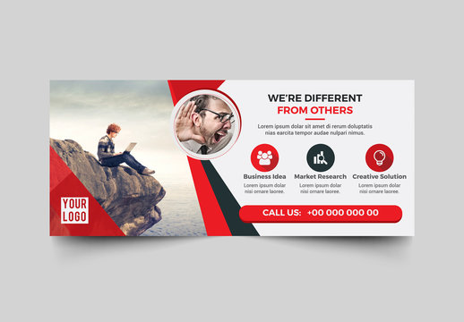 Advertising Banner Layout with Red Elements
